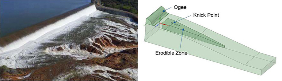 Oroville dam spillway erosion (left) 3d model simulation of spillway erosion