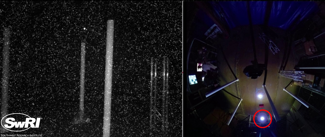UAS autonomously flying through an obstacle course in the dark and in the presence of visual noise. Left: UAS camera image. Right: Overhead view of obstacle course. The UAS is circled in red.