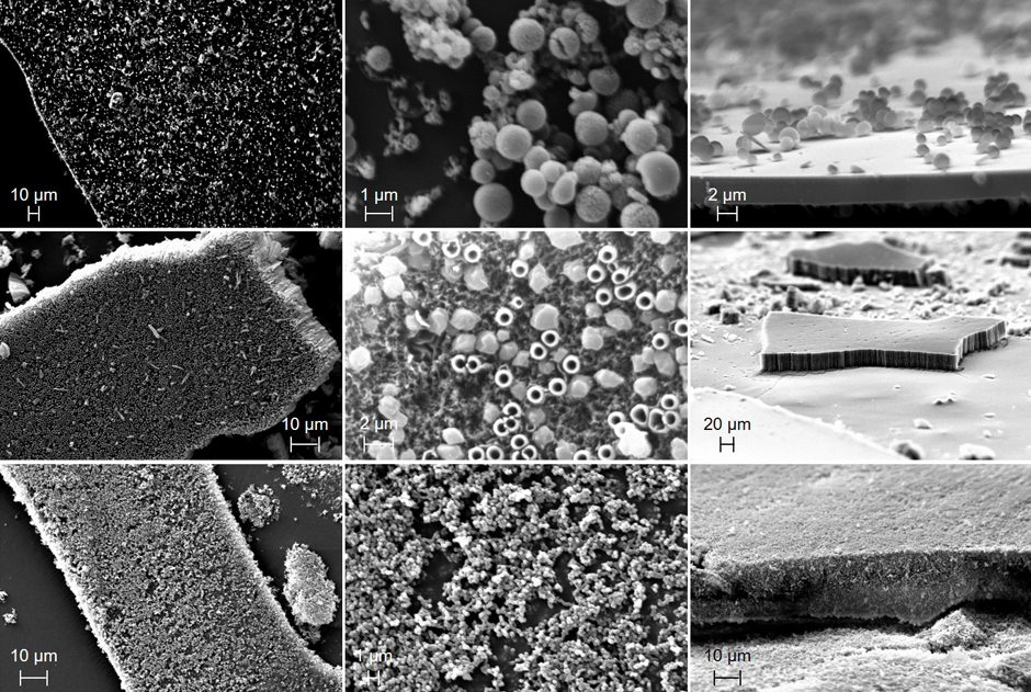 SEM images of the tholins produced at the pressures of 0.01 torr (top row), 0.1 torr (middle row), and 1 torr