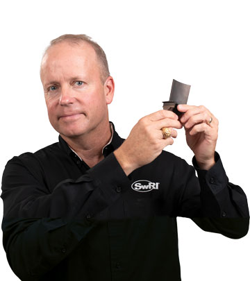 Jeff Moore holding a blade part