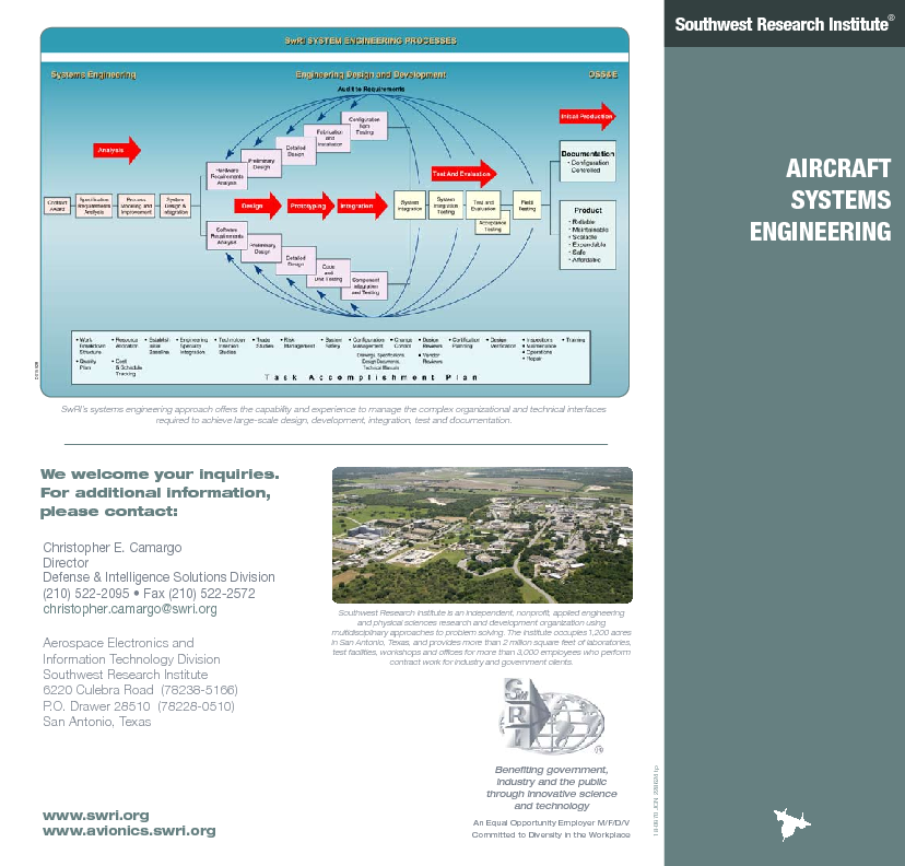 Go to aircraft systems engineering flyer