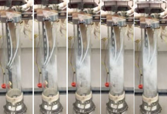 A series of images of a canister where ammonia is used to scrub acid gases