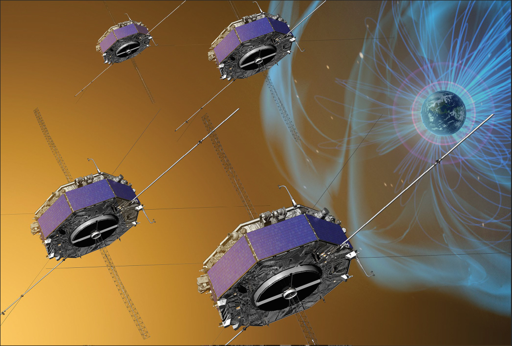 Artist' concept of MMS spacecraft skimming boundary of Earth's magnetosphere.