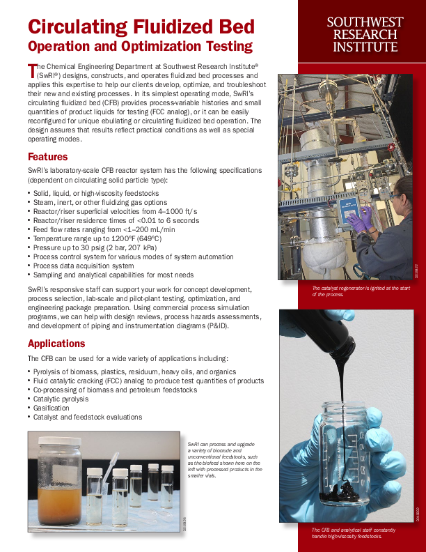 Go to Circulating Fluidized Bed Operation and Optimization Testing flyer