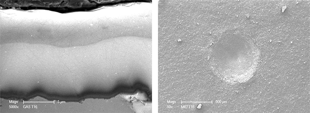 cross-sectional SEM micrograph and HRC indentation performed on the surface of the coating