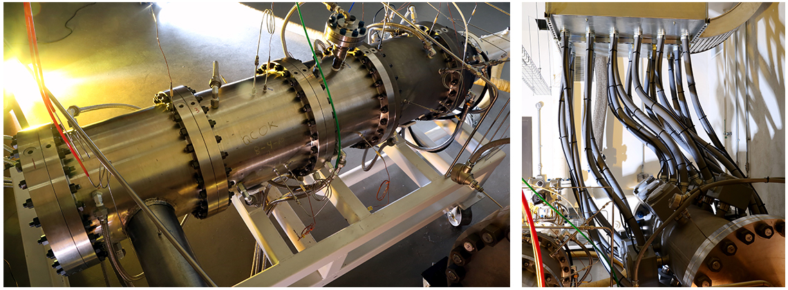 Combustor (left) made from a pressure vessel fabricated from a thick-walled high-temperature cast steel alloy; 2-megawatt electric heater (right)