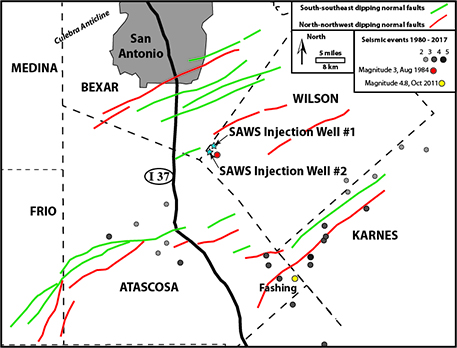 Map of two disposal wells