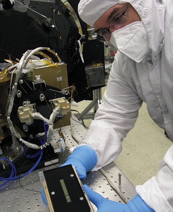 A technical with the MVIC camera, the only visible light multicolor imager in Lucy's payload