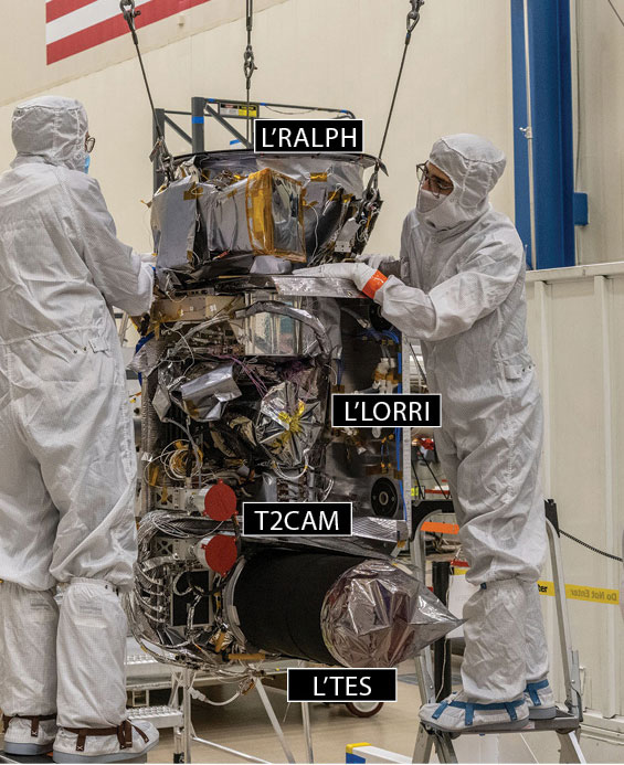 Engineers integrate instruments onto Lucy's instrument pointing platform prior to installation on the spacecraft.