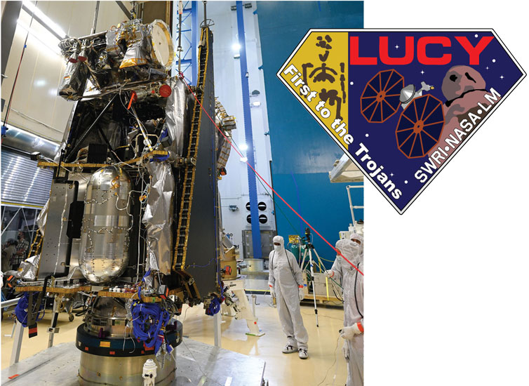 The Lucy spacecraft approaching completion in chamber