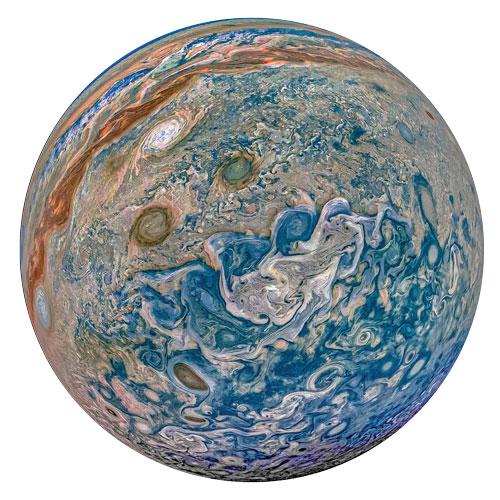 Image of Jupiter captured on JunoCam in 2019
