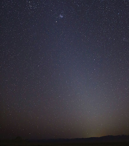 Photo showing zodiacal light as it appeared on March 1, 2021, in Skull Valley, Utah.