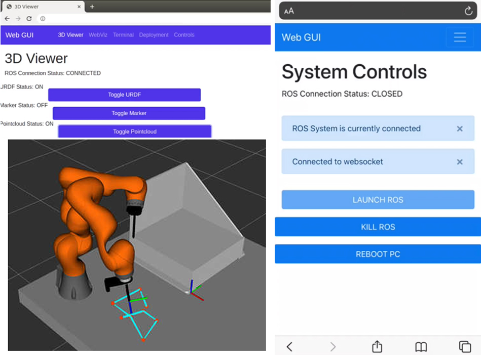 left - screenshot of desktop graphical user interface with a 3d view of the robot and on screen system controls; right is a screenshot of the mobile graphical user interface with options for system controls