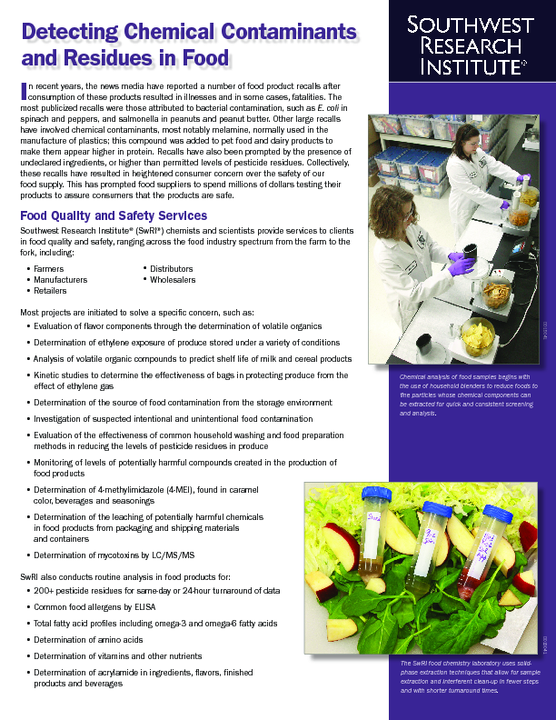 Go to Detecting Chemical Contaminants & Residues in Food