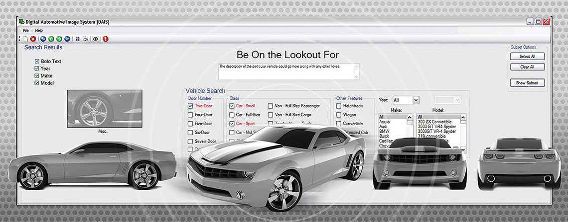 Screenshot if the DAIS system with different profiles of a vehicle shown