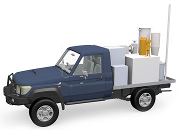 diagram of a blue truck with the demilitarization equipment in the back