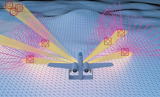 Diagram of an aircraft emitting ECMs