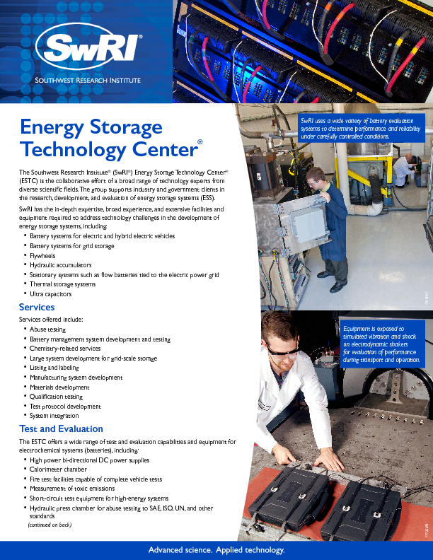 Go to Energy Storage Technology Center flyer