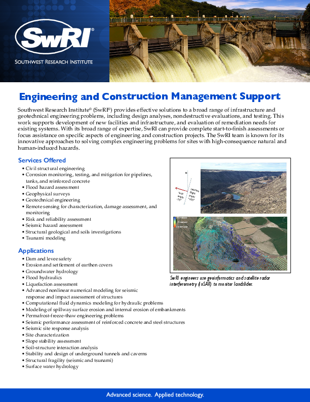 Go to engineering and construction management support flyer