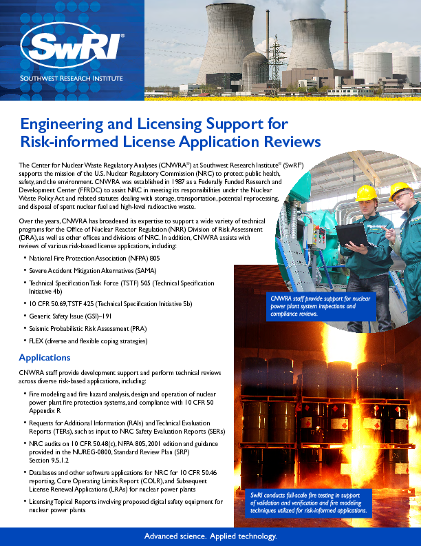 Go to Engineering and Licensing Support for Risk-informed License Application Reviews flyer
