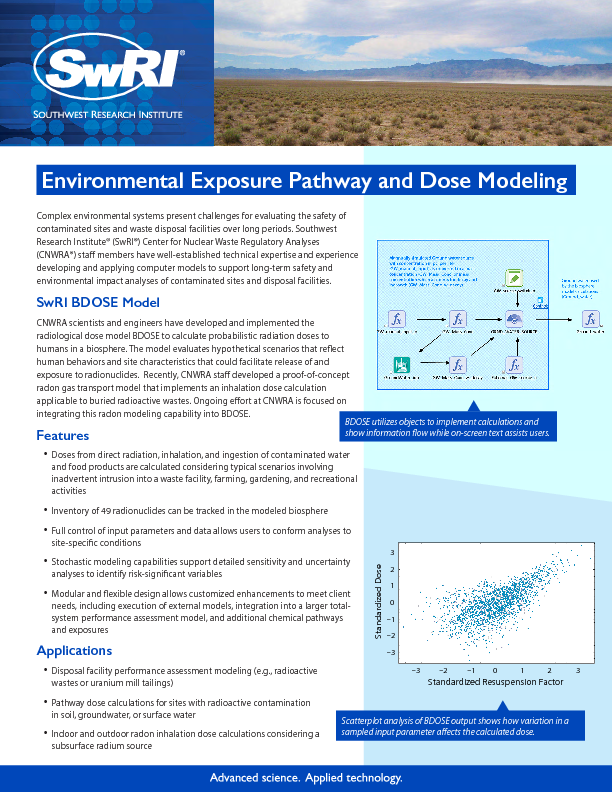 Go to Environmental Exposure Pathway and Dose Modeling flyer
