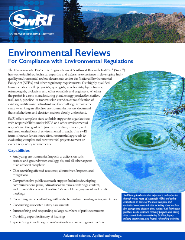 Go to Environmental Reviews brochure
