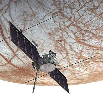 Satellite in orbit over Europa