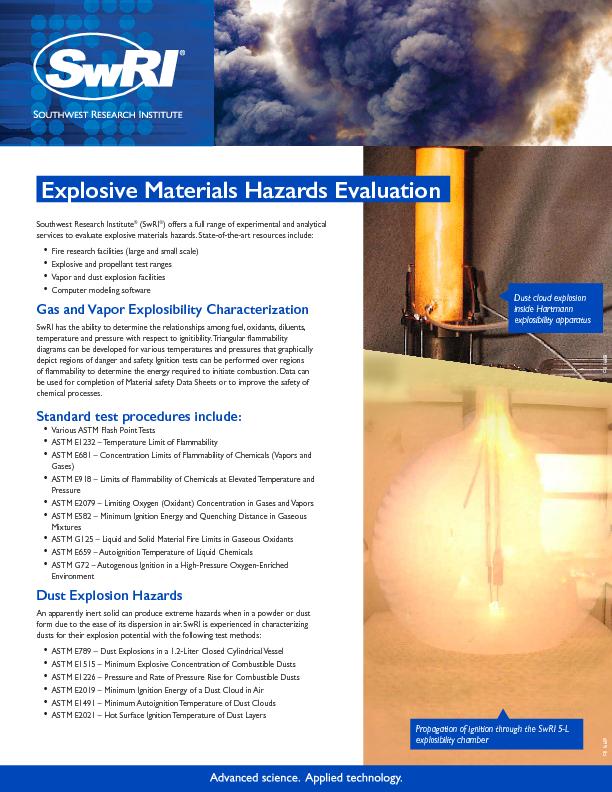 Go to Explosive Materials Hazards Evaluation flyer