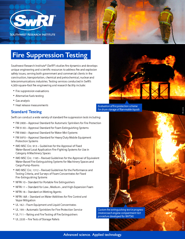 Go to Fire Suppression Testing flyer