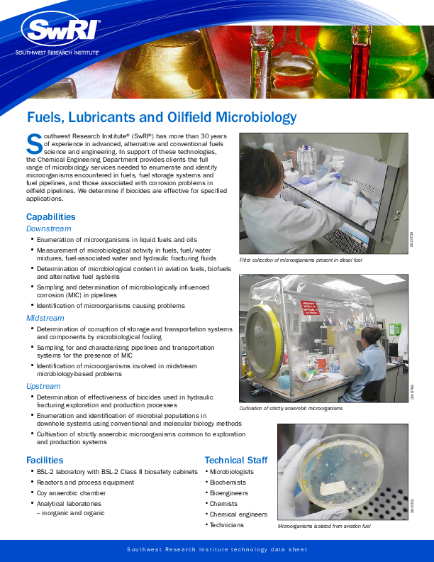 Go to Fuels, Lubricants and Oilfield Microbiology brochure