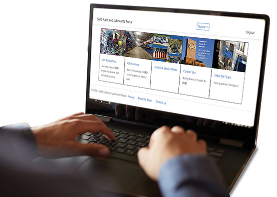A laptop showing the portal main page