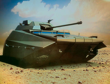 Artist rendition of a future combat vehicle in a desert environment
