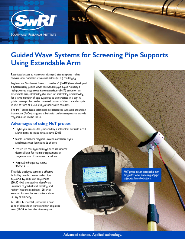 Go to  Guided Wave Systems for Screening Pipe Supports Using Extendable Arm flyer