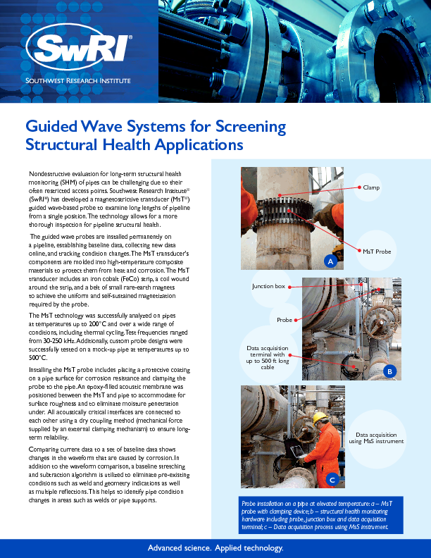 Go to Guided Wave Systems for Screening Structural Health Applications flyer