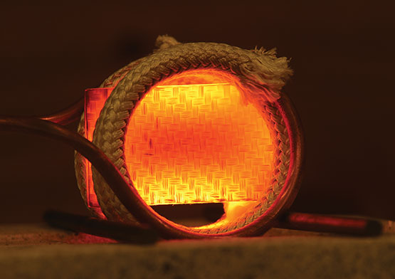 Carbon composite glowing yellow/orange