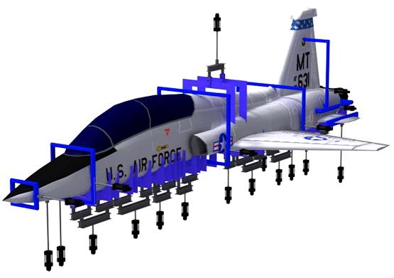 Hydraulic jacks simulate loads on aircraft