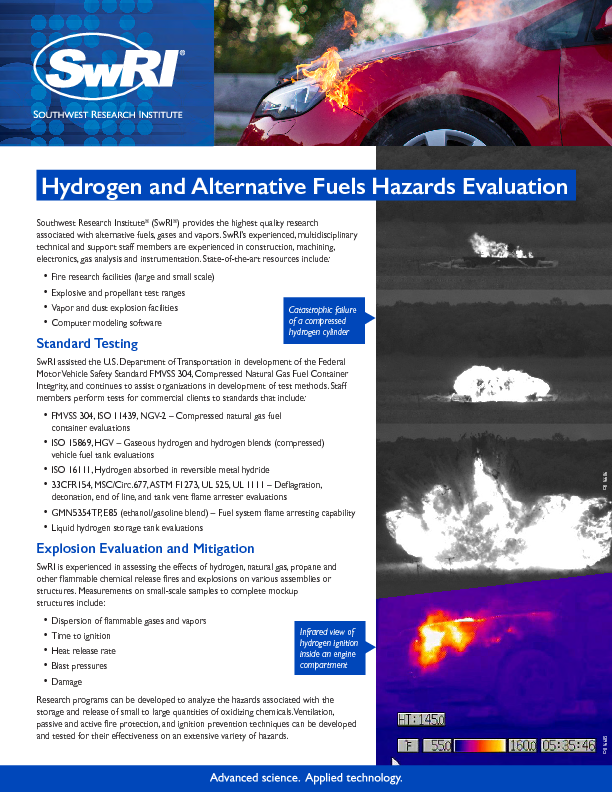 Go to Hydrogen and Alternative Fuels Hazards Evaluation flyer