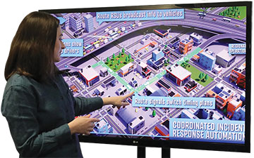 Over head view of incident response of a city district on a screen