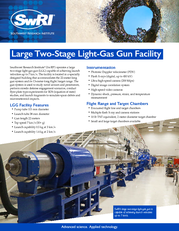Go to Large Two-Stage Light-Gas Gun Facility flyer