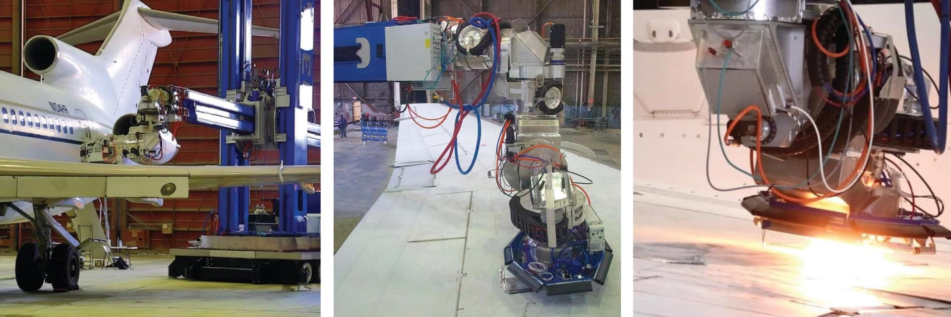 Collage of large mobile robots working on aircrafts