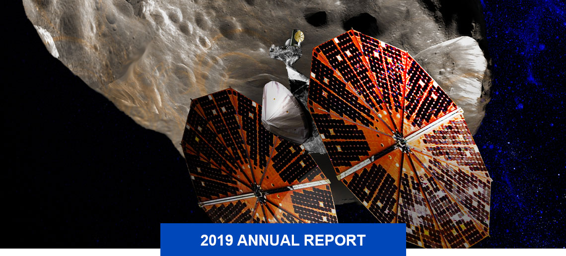Lucy spacecraft with discs holding solar panels orbiting a Trojan asteroid