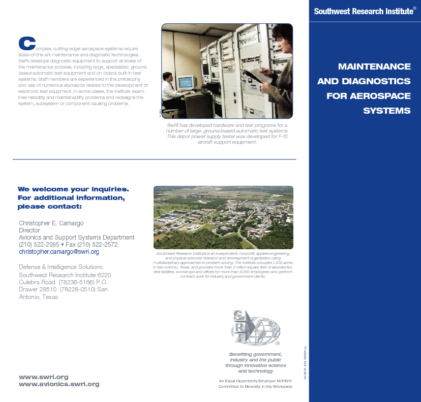 Go to Maintenance & Diagnostics for Aerospace Systems flyer