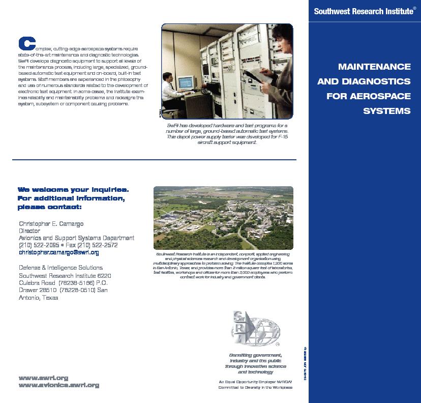 Go to Maintenance & Diagnostics for Aerospace Systems flyer