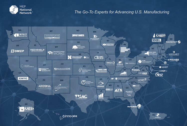 map of united states with logos for each state's manufacturing assistance program