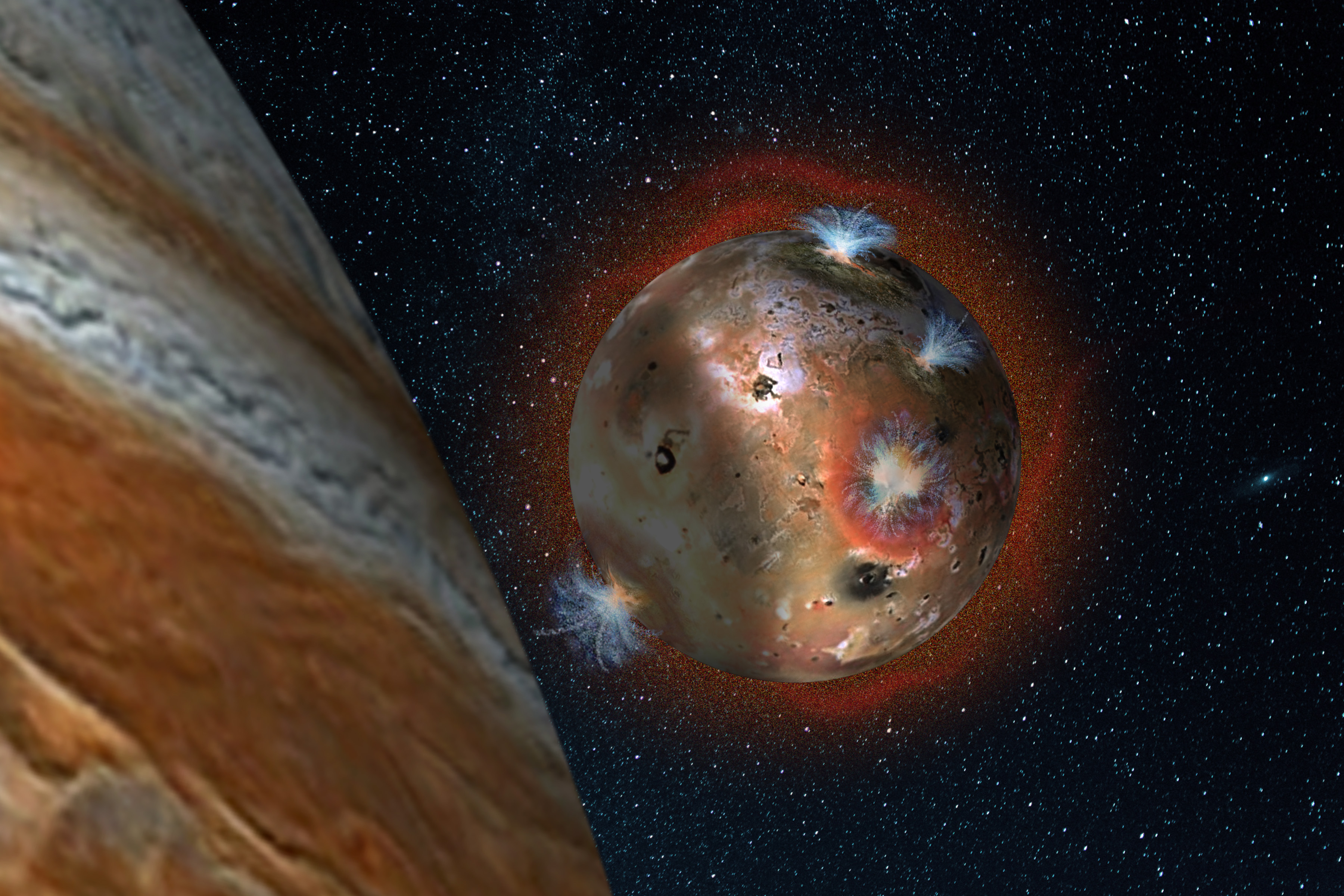 An artist's rendering depicts Io's volcanic plumes creating the atmosphere in sunlight