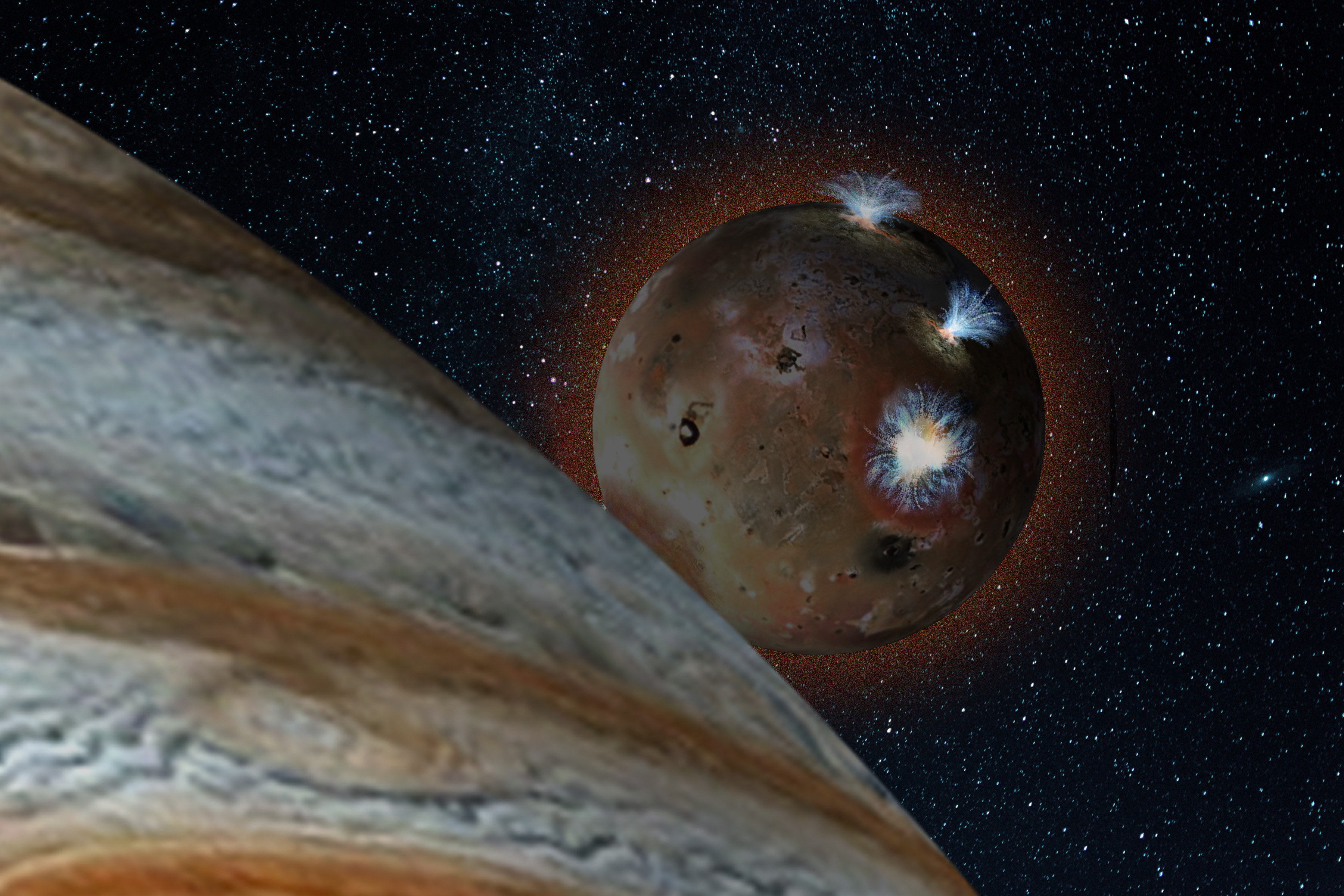 An artist's rendering depicts Io's volcanic plumes creating the atmosphere in sunlight.