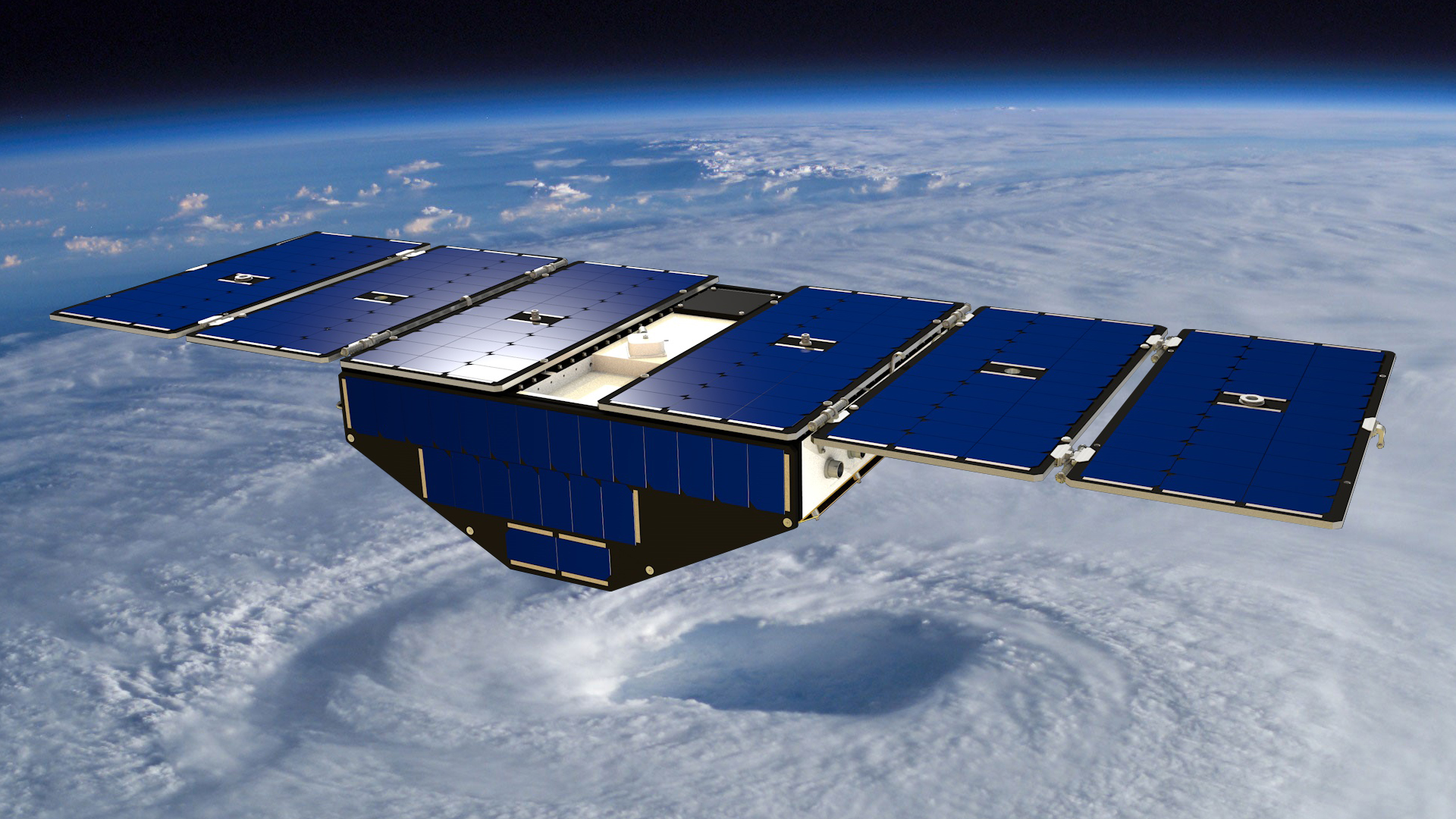 Image: Artist's concept of one of the eight Cyclone Global Navigation Satellite System satellites