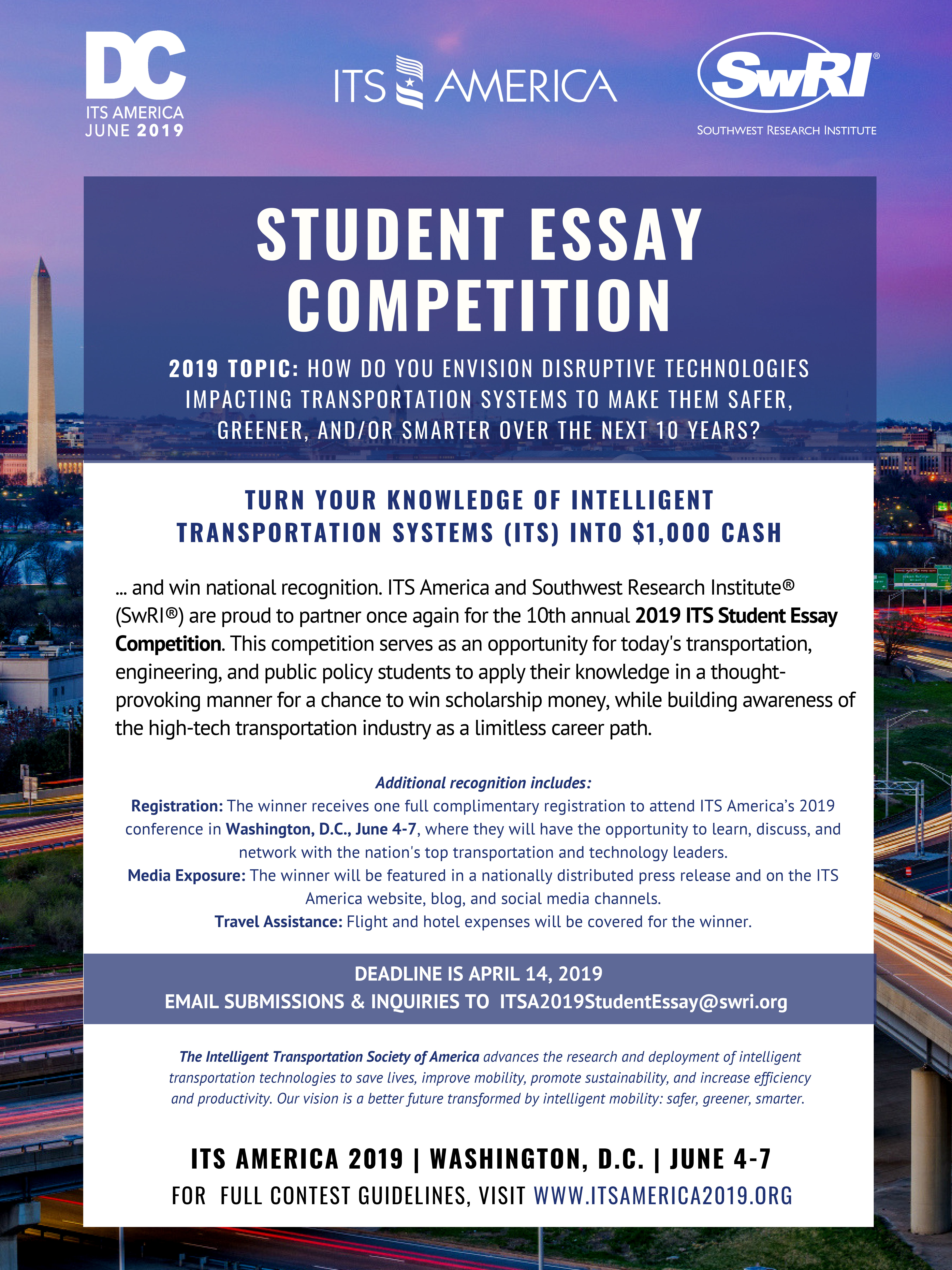 Swri Sponsors Its Americas Th Student Essay Competition With Cash  Swri Sponsors Its Americas Th Student Essay Competition With Cash Prize   Southwest Research Institute