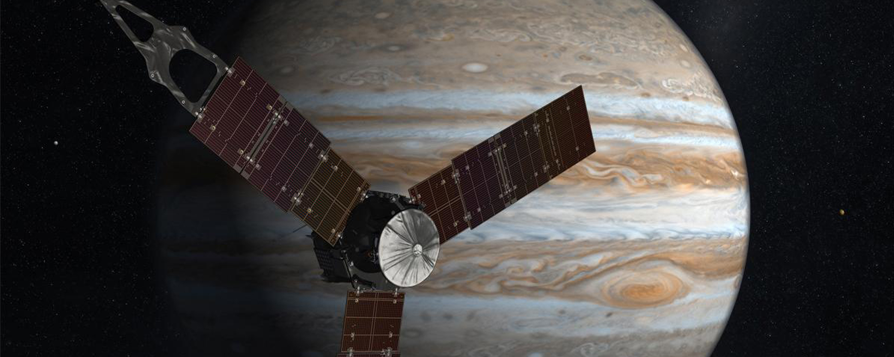 Artist interpretation of Juno orbiting Jupiter