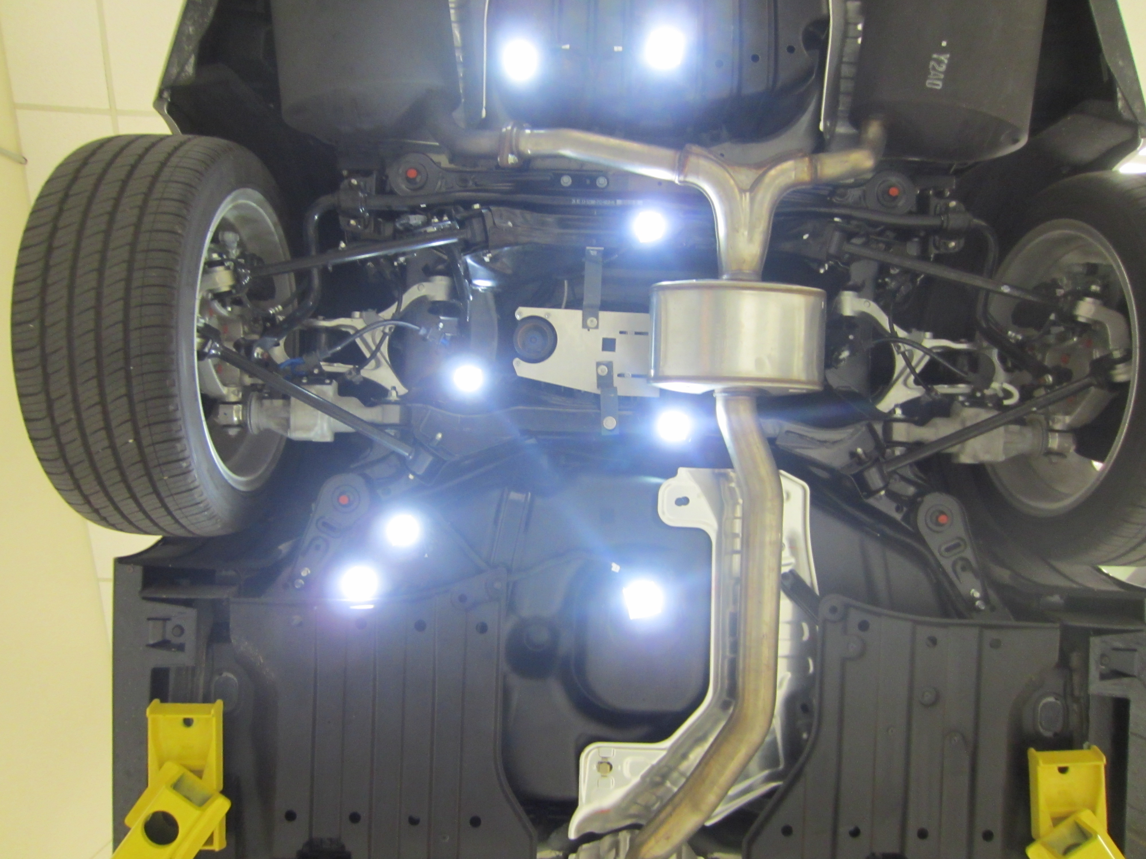 View from the underside of a research vehicle equipped with the Southwest Research Institute's Ranger localization solution for autonomous vehicles